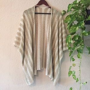 Sweaters - Gold & Beige Striped Shawl With Sequins